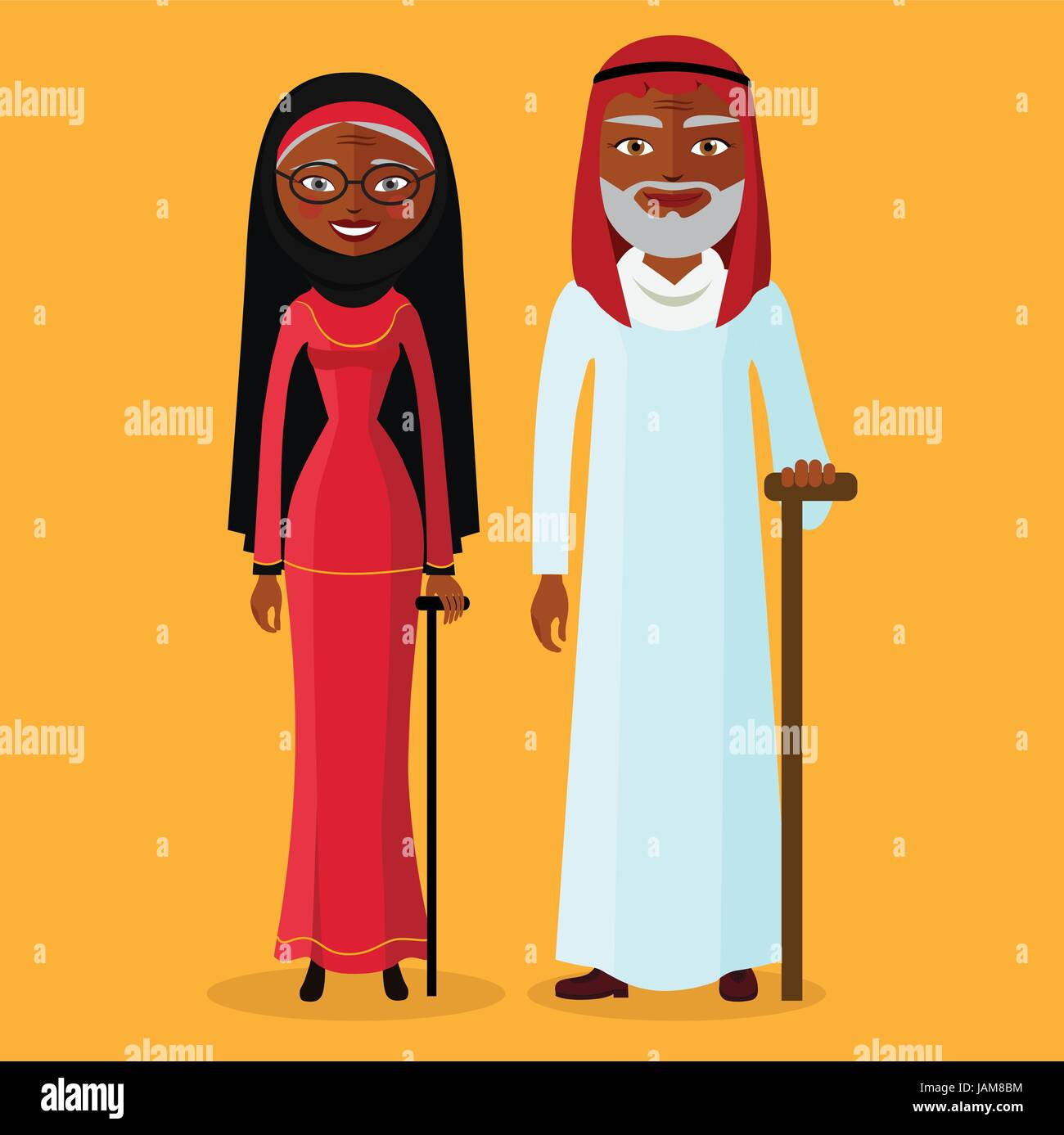 Vector of arab adult man and woman. Illustration arab old people standing together and happy. Muslim Grandmother - Stock Vector