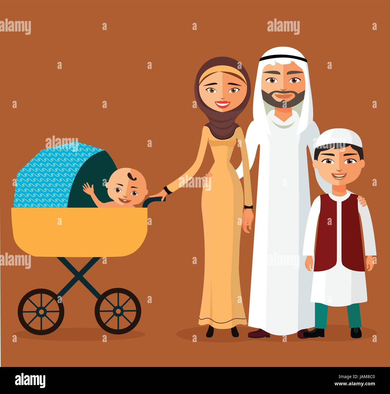 Happy young Arab family with a newborn. Muslim parents with two children. - Stock Vector