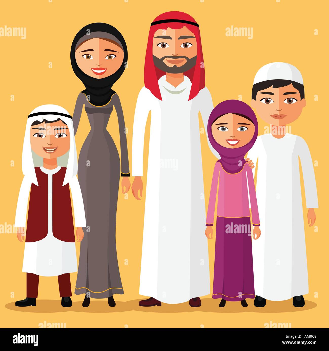 Happy muslim arabic family members isolated on background. Arab cartoon people father, mother, son, daughter. - Stock Vector