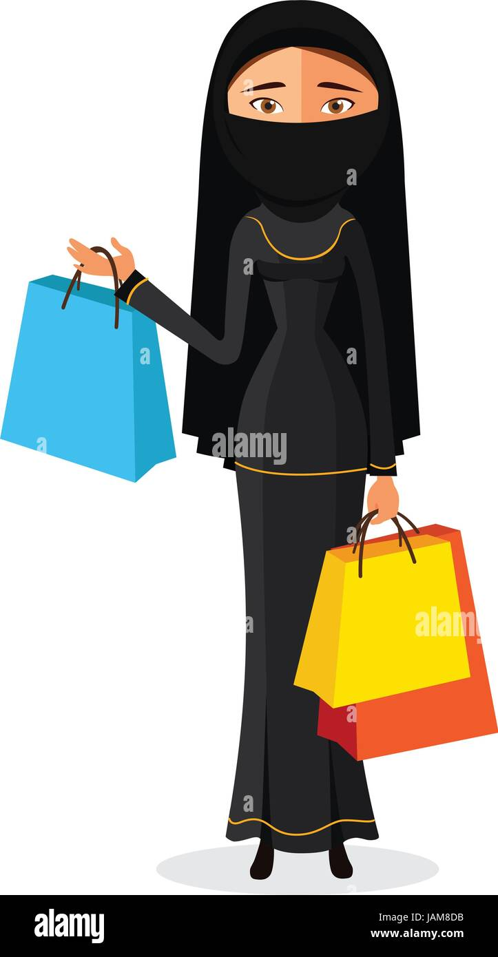 Arabic woman with shopping bags flat cartoon vector illustration. Eps10. Isolated on a white background. - Stock Vector
