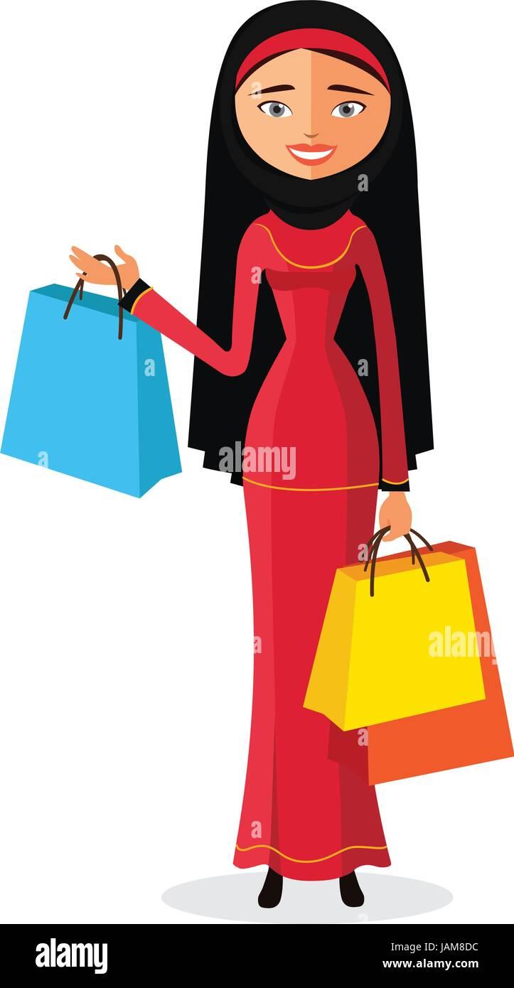 Young Arab Muslim Woman Shopping Flat Cartoon Vector