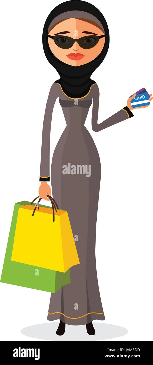 Glamorous arab woman standing in her traditional dress holding shopping bags flat cartoon vector illustration. Eps10. - Stock Vector