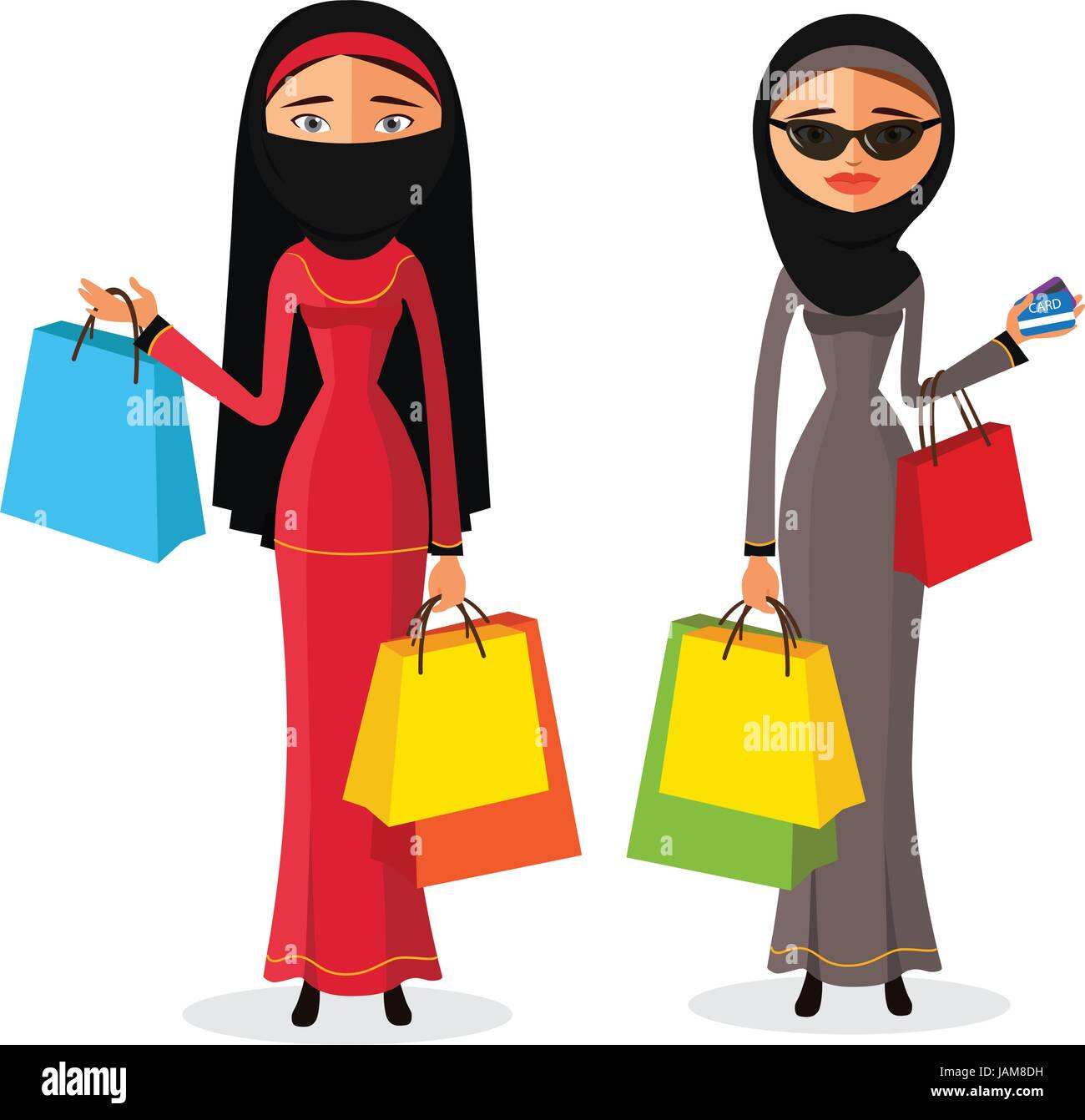 Muslim womam shopping. Beautiful young arab women with shopping bags. flat cartoon vector illustration. Eps10. Isolated - Stock Vector
