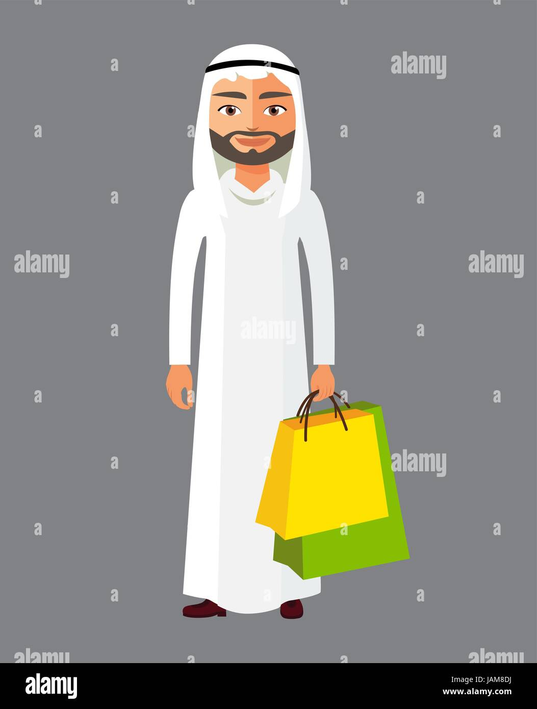 Arab business man with shopping bag. Vector cartoon illustration. Arabian man in the shop flat cartoon vector illustration. - Stock Vector