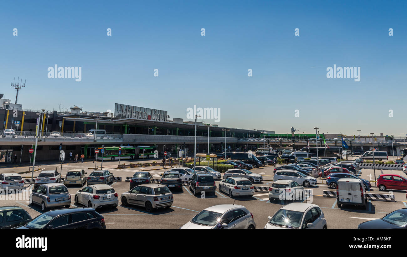 Entrance to Milan's Linate International Airport, Italy - Stock Image