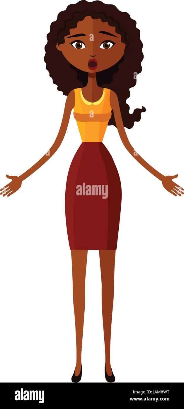 Suprised dumbfounded young african american business lady Stock Vector