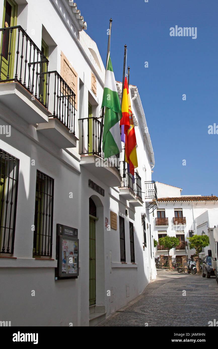 A shot of the Ayuntamiento (City Council) building in Frigiliana, Andalusia, Spain, Costa del Sol. - Stock Image