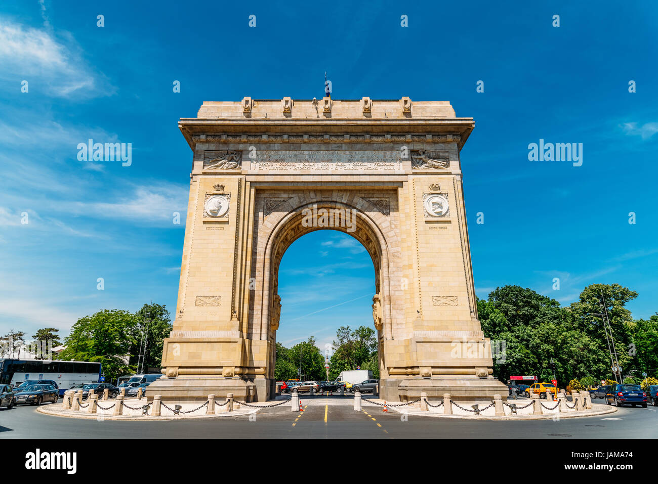 BUCHAREST, ROMANIA - MAY 24, 2017: Built in 1936 Arcul de Triumf is a triumphal arch located in the northern part Stock Photo