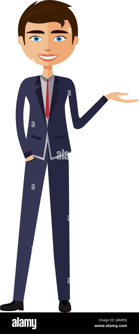 Businessman presents something - Stock Vector