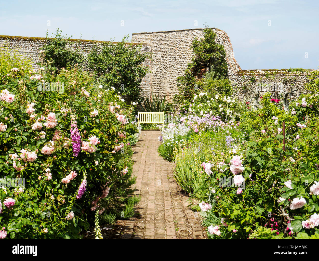 The delightful charm of the rustic walled garden at Wiveton Hall, Norfolk, Stock Photo