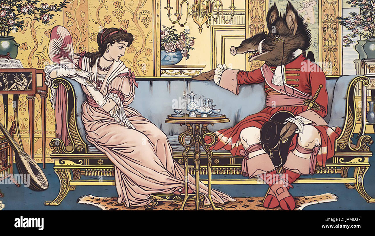 WALTER CRANE (1845-1915) English artist. Illustration from his 1874 book Beauty and the Beast - Stock Image