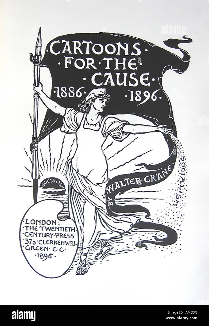 WALTER CRANE (1845-1915) English artist. Cover of his 'Cartoons for the Cause 1886-1889' published to celebrate - Stock Image