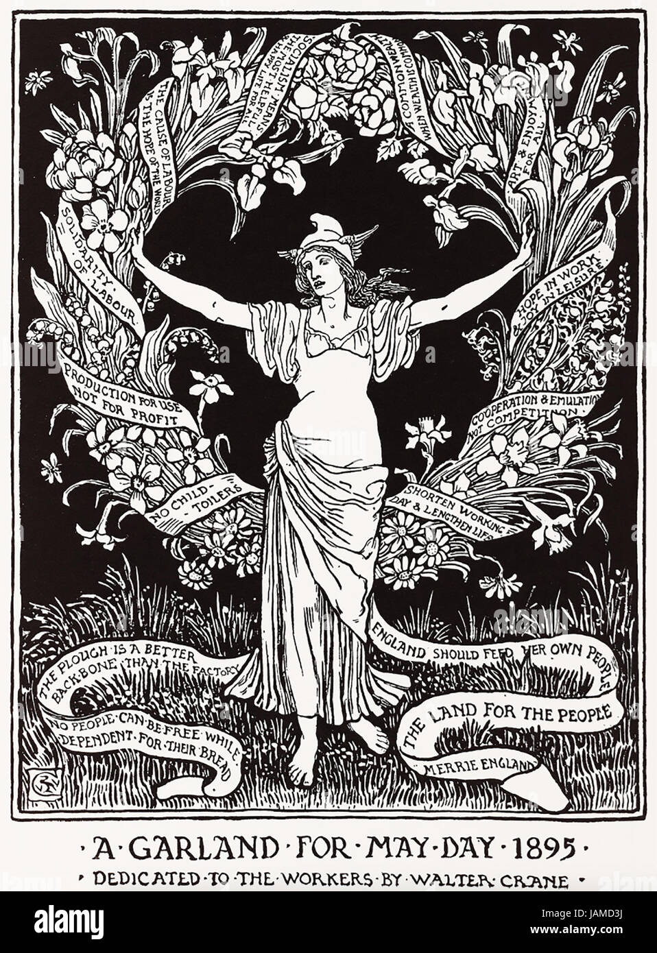 WALTER CRANE (1845-1915) English artist. Engraving from his 'Cartoons for the Cause 1886-1889' published - Stock Image