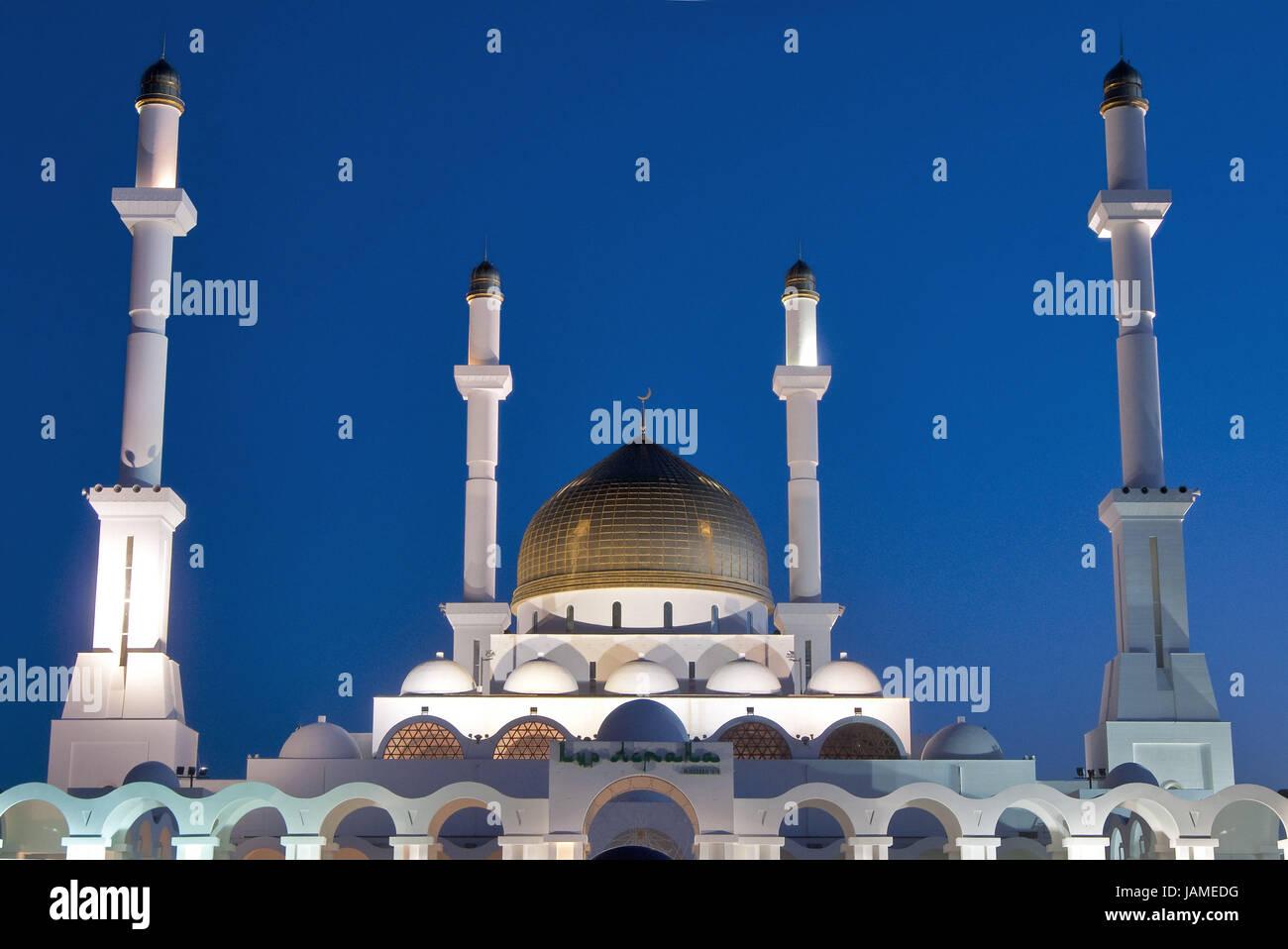 Kazakhstan,main mosque in Astana,dusk, Stock Photo
