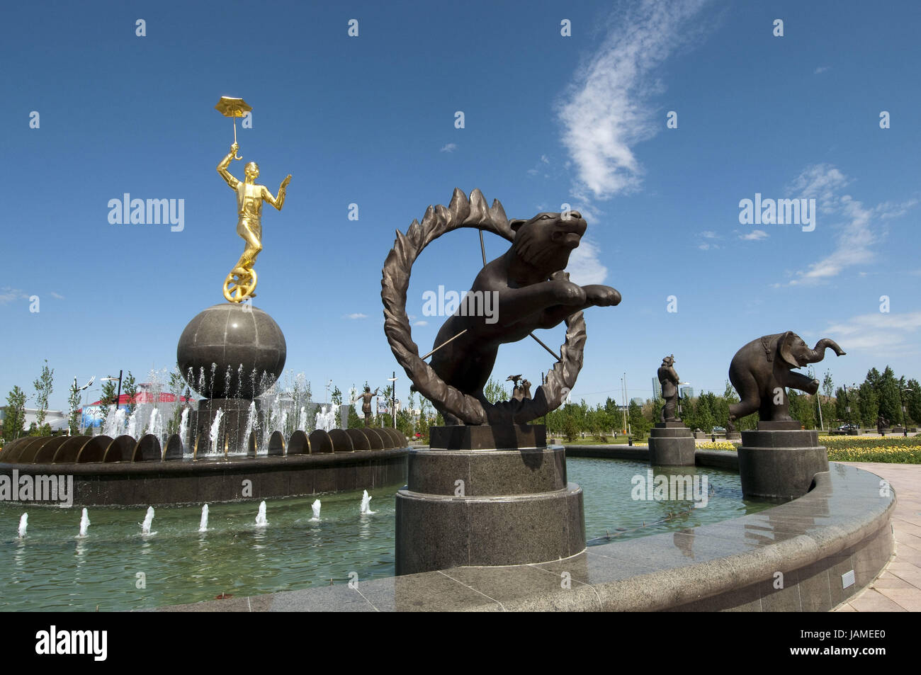 Kazakhstan,well before the circus in Astana with artistes and animals, - Stock Image