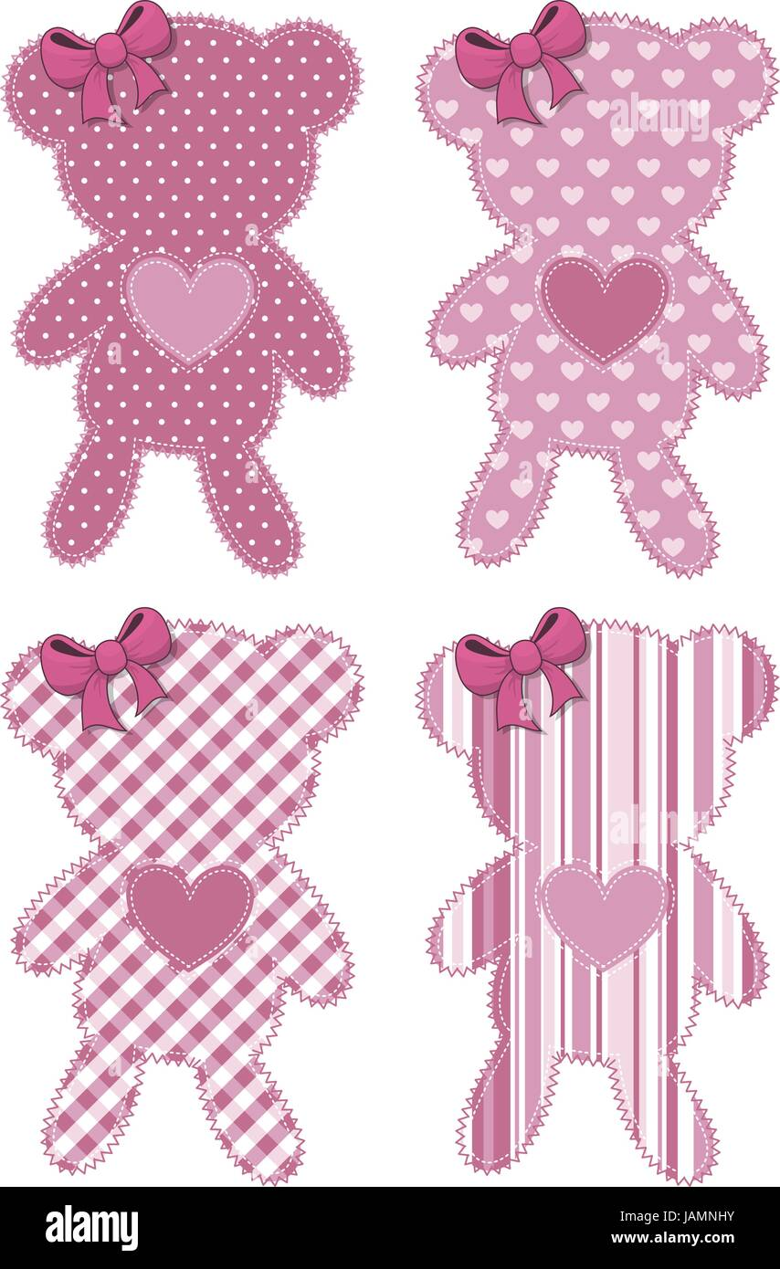 set of four cute teddy bear applique in pink for baby girls, in vector format very easy to edit, individual objects - Stock Vector