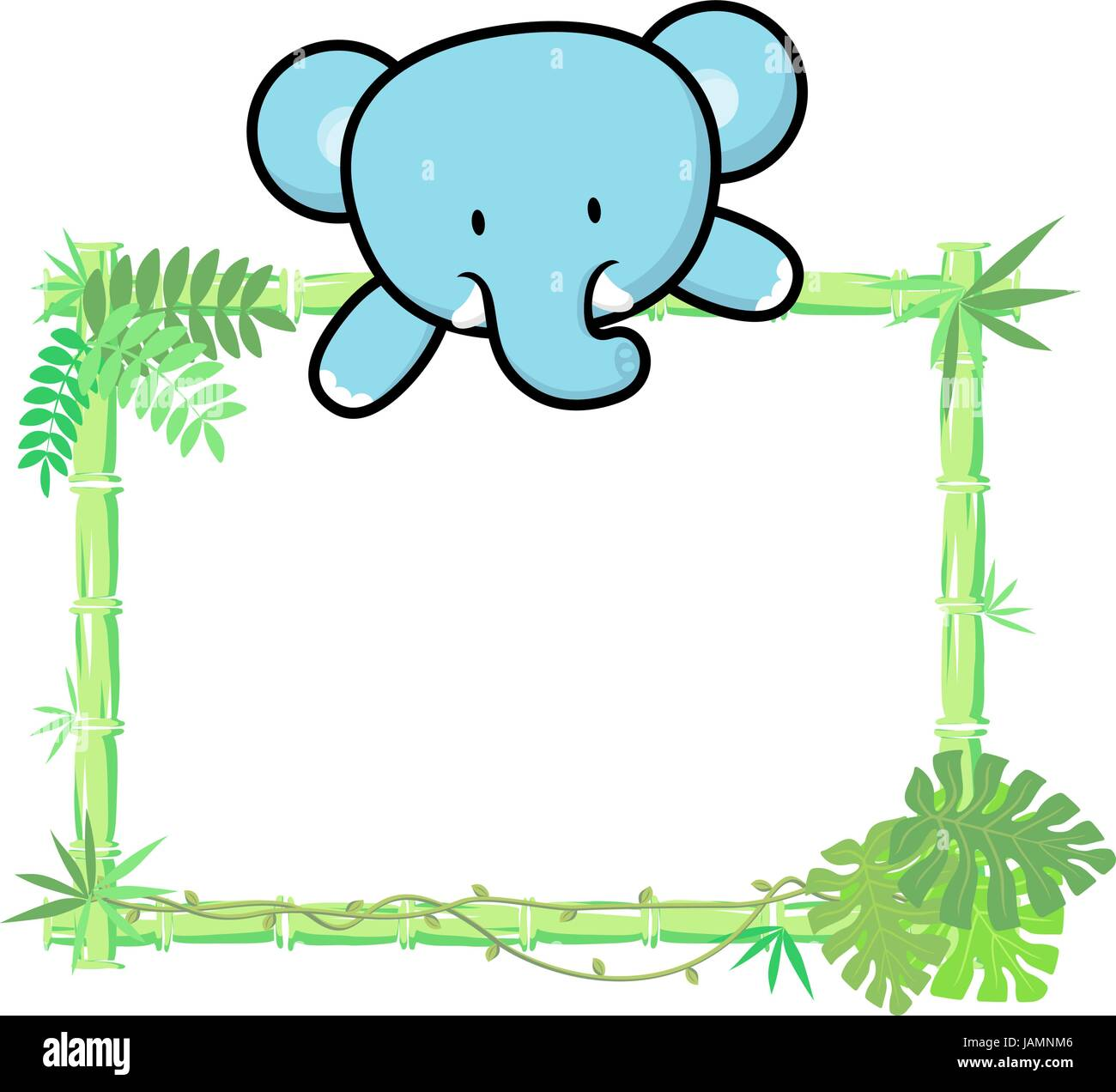 cute baby elephant on blank board with bamboo frame isolated on ...