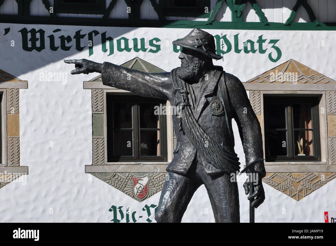 Austria,Tyrol,Ötztal,Obergurgl,bronze freeze frame,Martinus Scheiber,mountain guide,Ramolhaus,freeze frame,bronze,pub,restaurant,gastronomy, - Stock Image