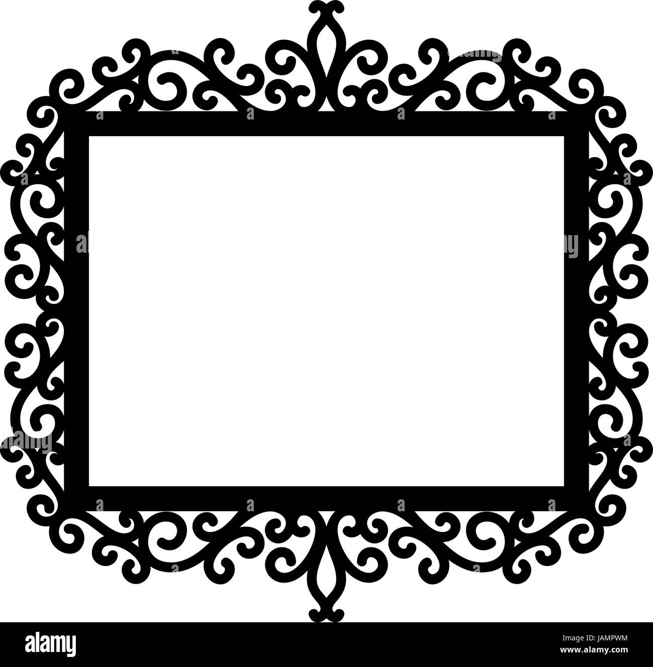 decorative frame silhouette in black isolated on white background ...