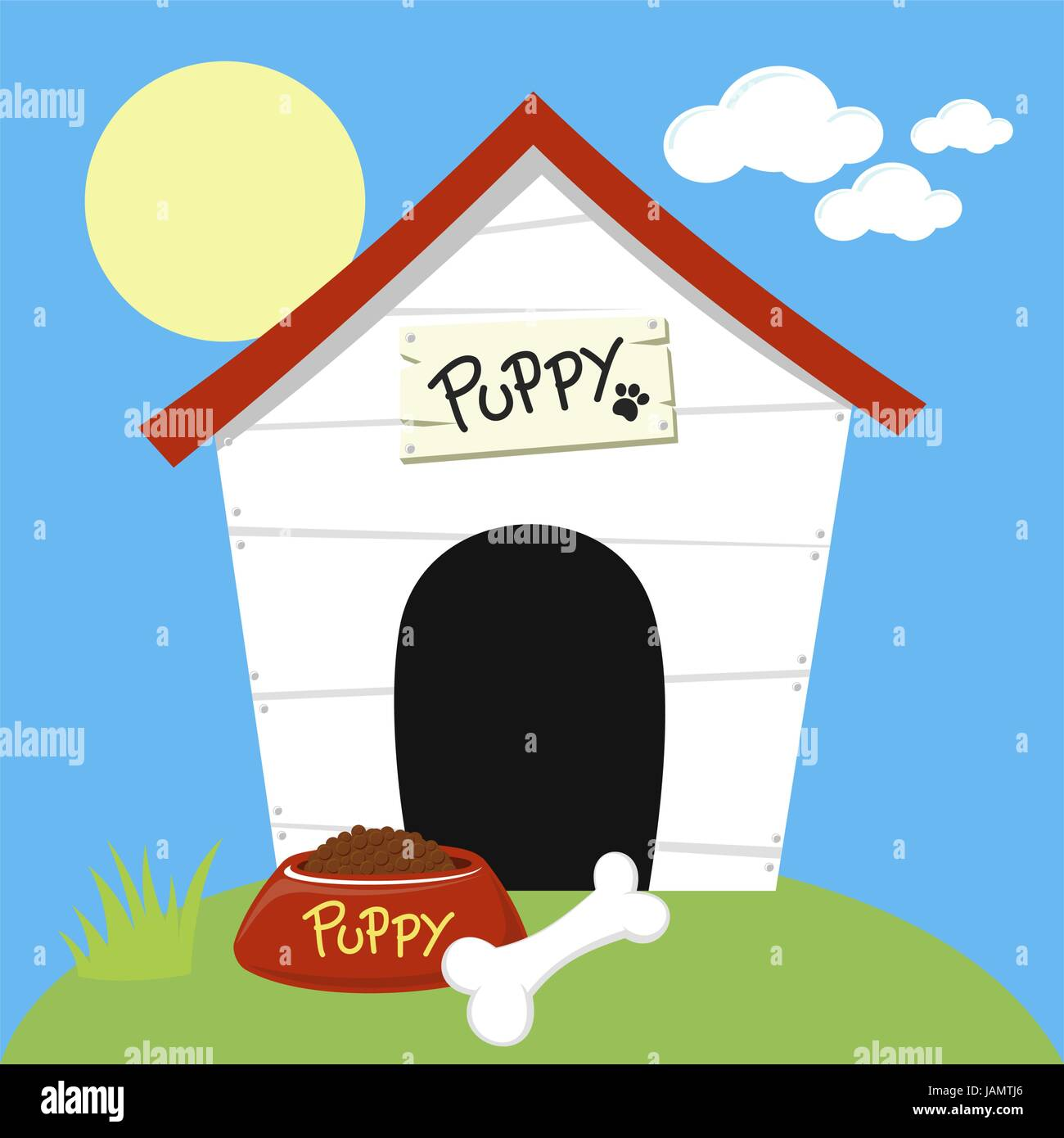 Cute Dog House With Dog Food Bowl And Bone Stock Vector Art