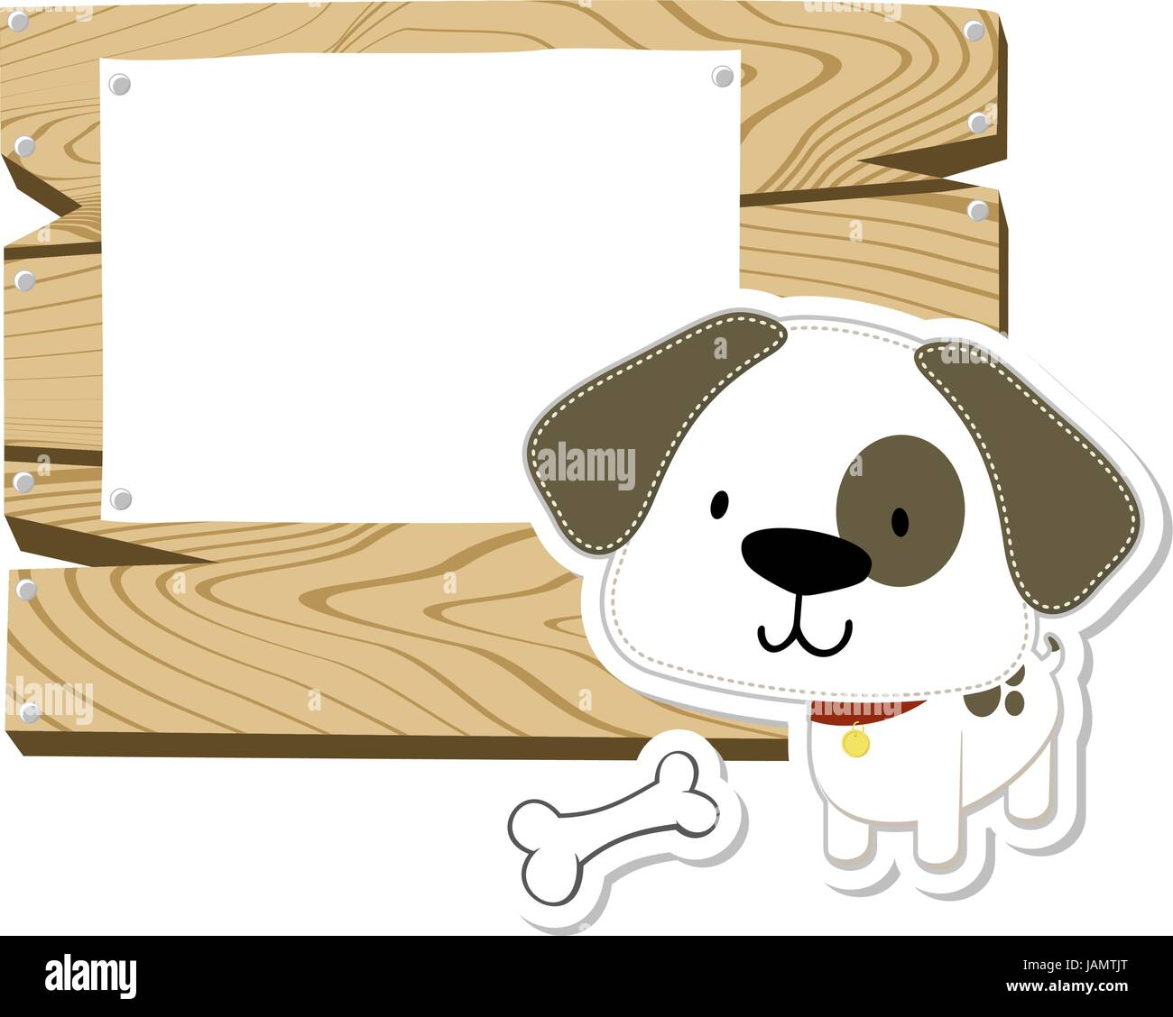 Cute Baby Dog And Wooden Blank Board Isolated On White Background