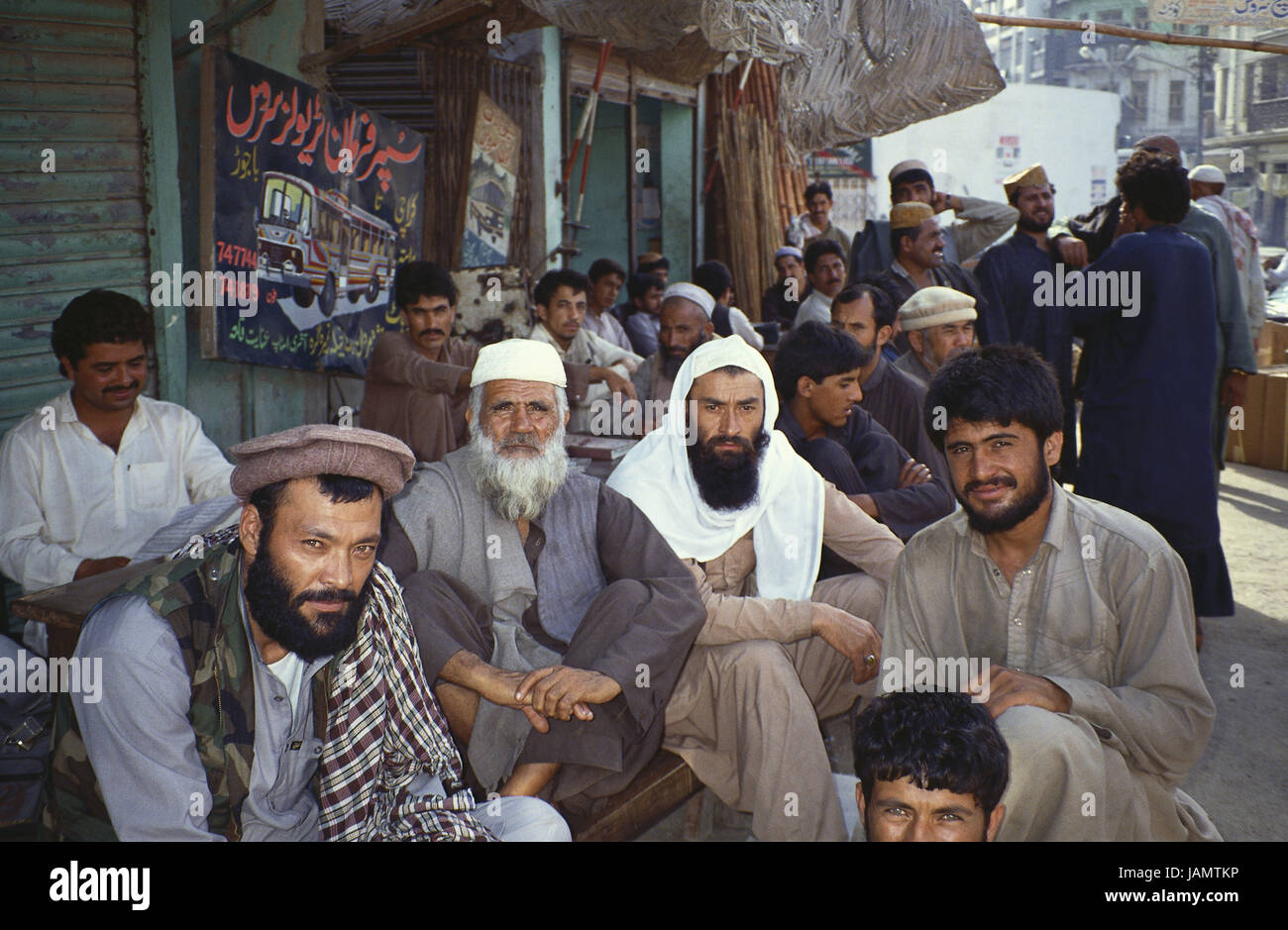Pakistan,Belutschistan,Quetta,men,Mujaheddin,in Afghan manner,group picture,no model release,Asia,person,locals,clothes,headgear,traditionally,beards,religious - Stock Image
