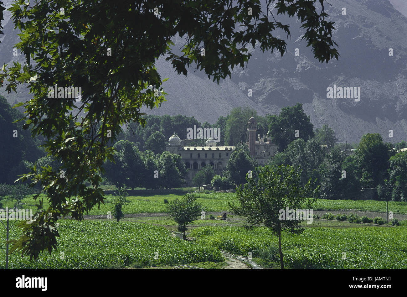 Pakistan,Chitral,mosque,fields,Asia,green,Islam,scenery,nature,travel,religion,tourism,vacation,vegetation,meadows,church,sacred - Stock Image