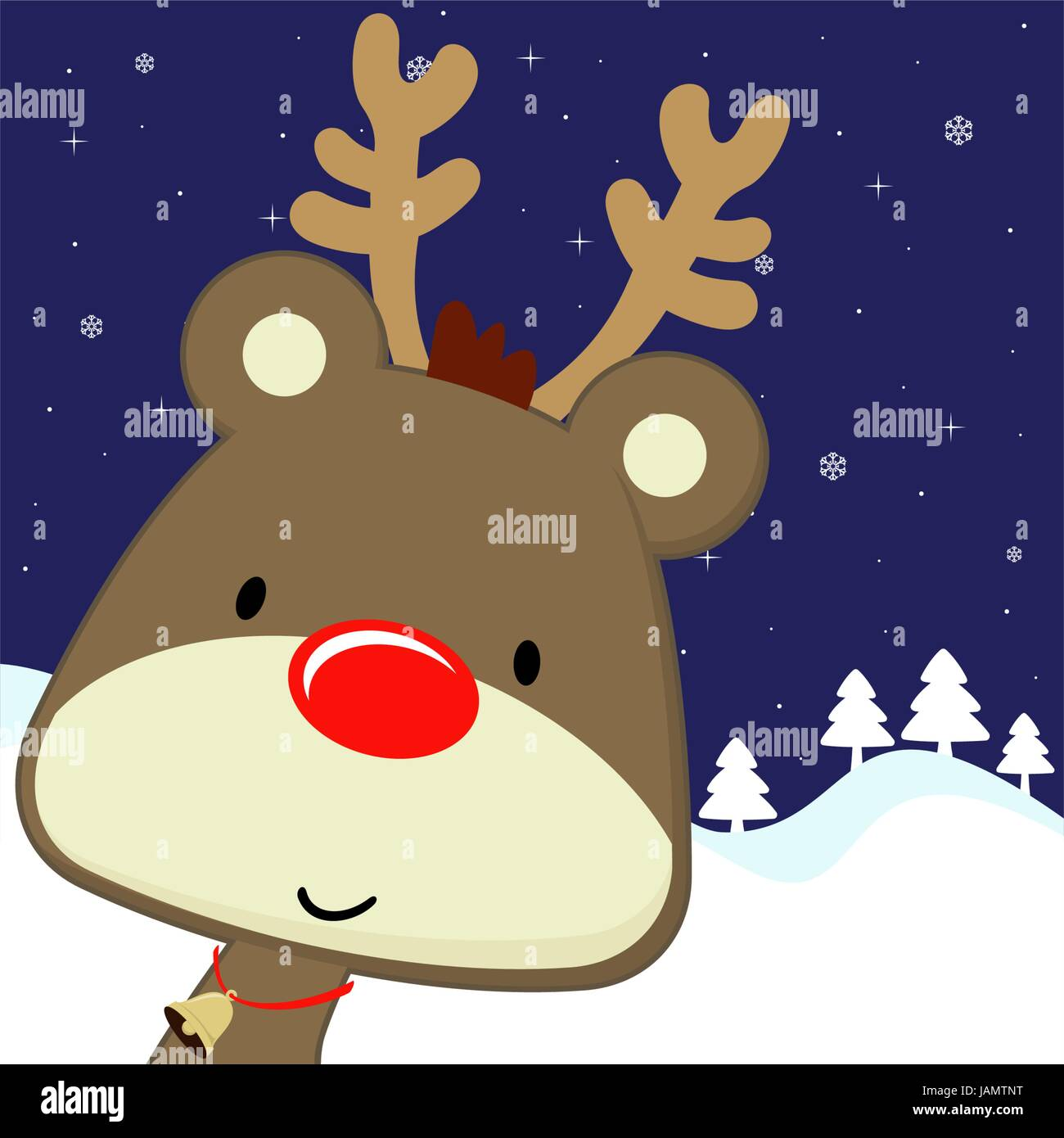 Cute Baby Deer With Red Nose On Winter Background Vector Format Very Easy To Edit