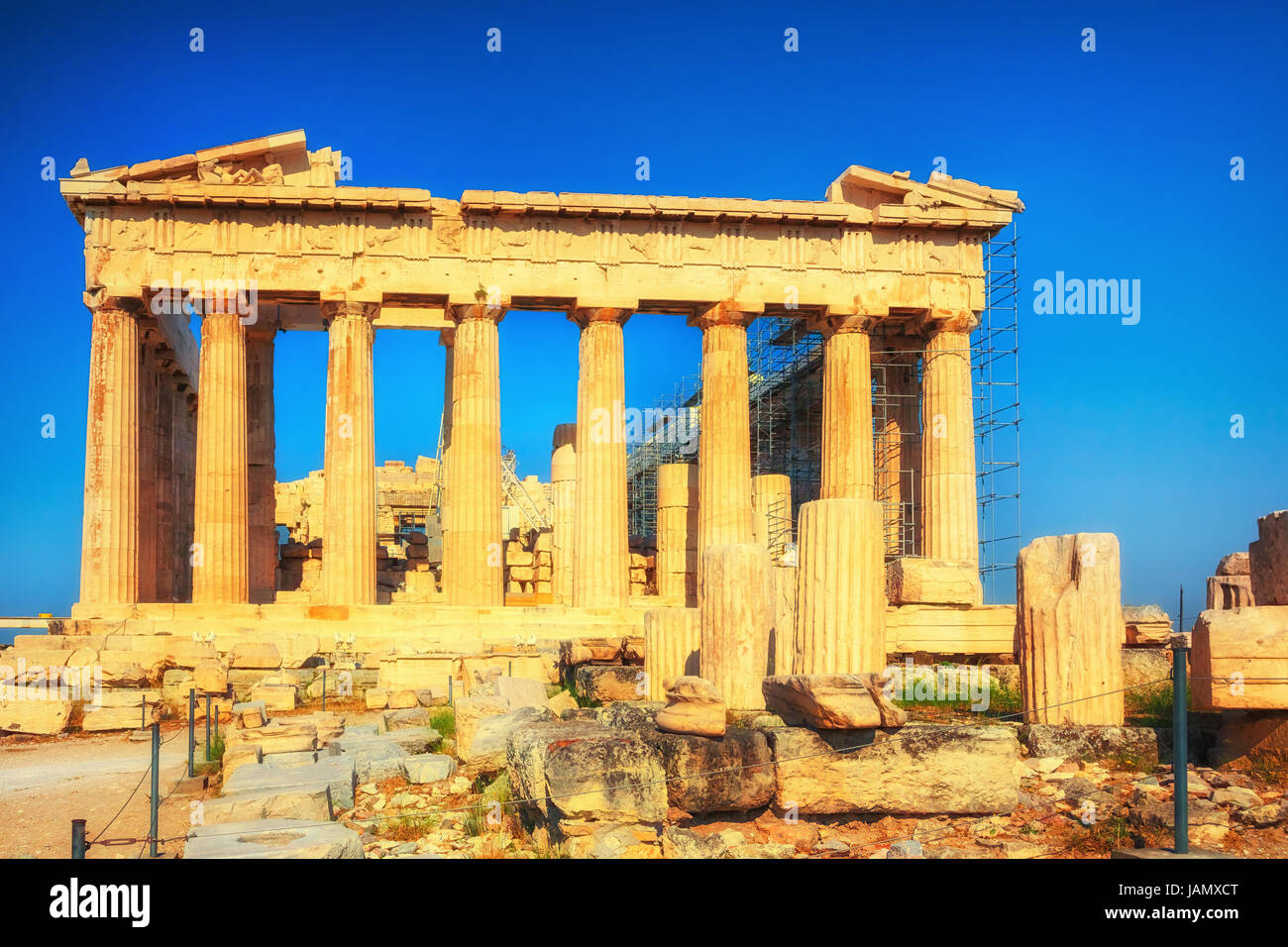 Parthenon in Acropolis of Athens at sunset - Stock Image