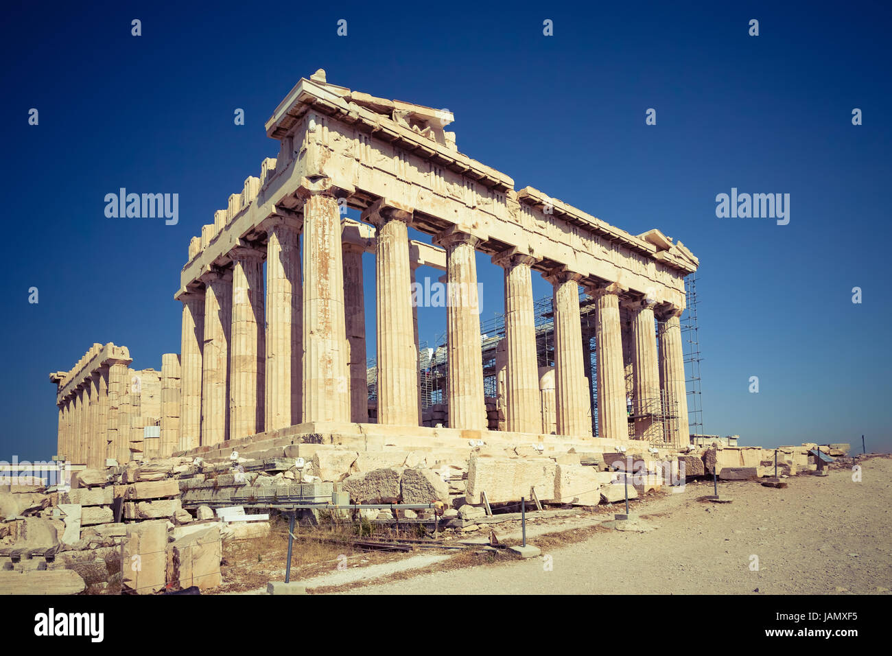 Parthenon in Acropolis of Athens, Greece - Stock Image
