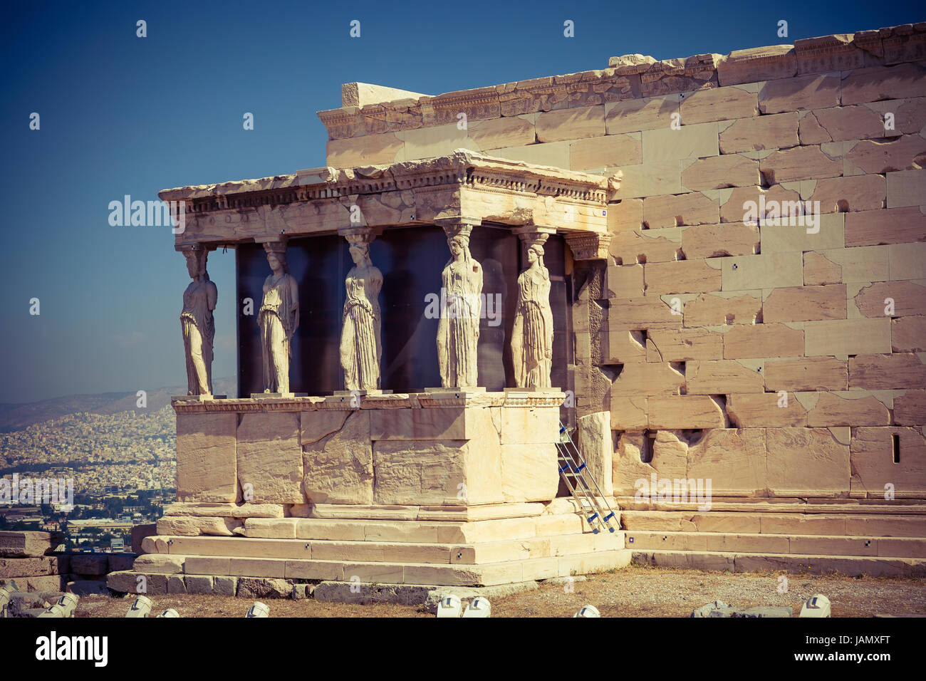 Erechtheum temple in Athens, Greece - Stock Image