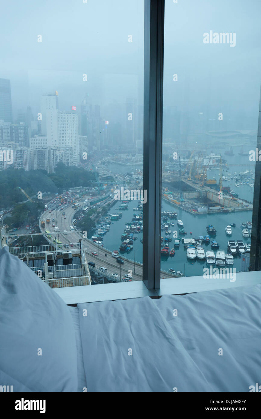 View over Causeway Bay and Hong Kong Island from Twenty One Whitfield Boutique Hotel, Hong Kong, China Stock Photo