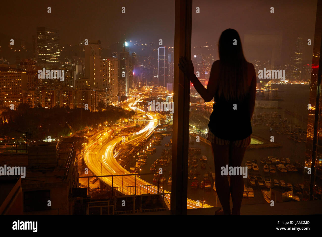 View over Causeway Bay and Hong Kong Island from Twenty One Whitfield Boutique Hotel, Hong Kong, China - Stock Image