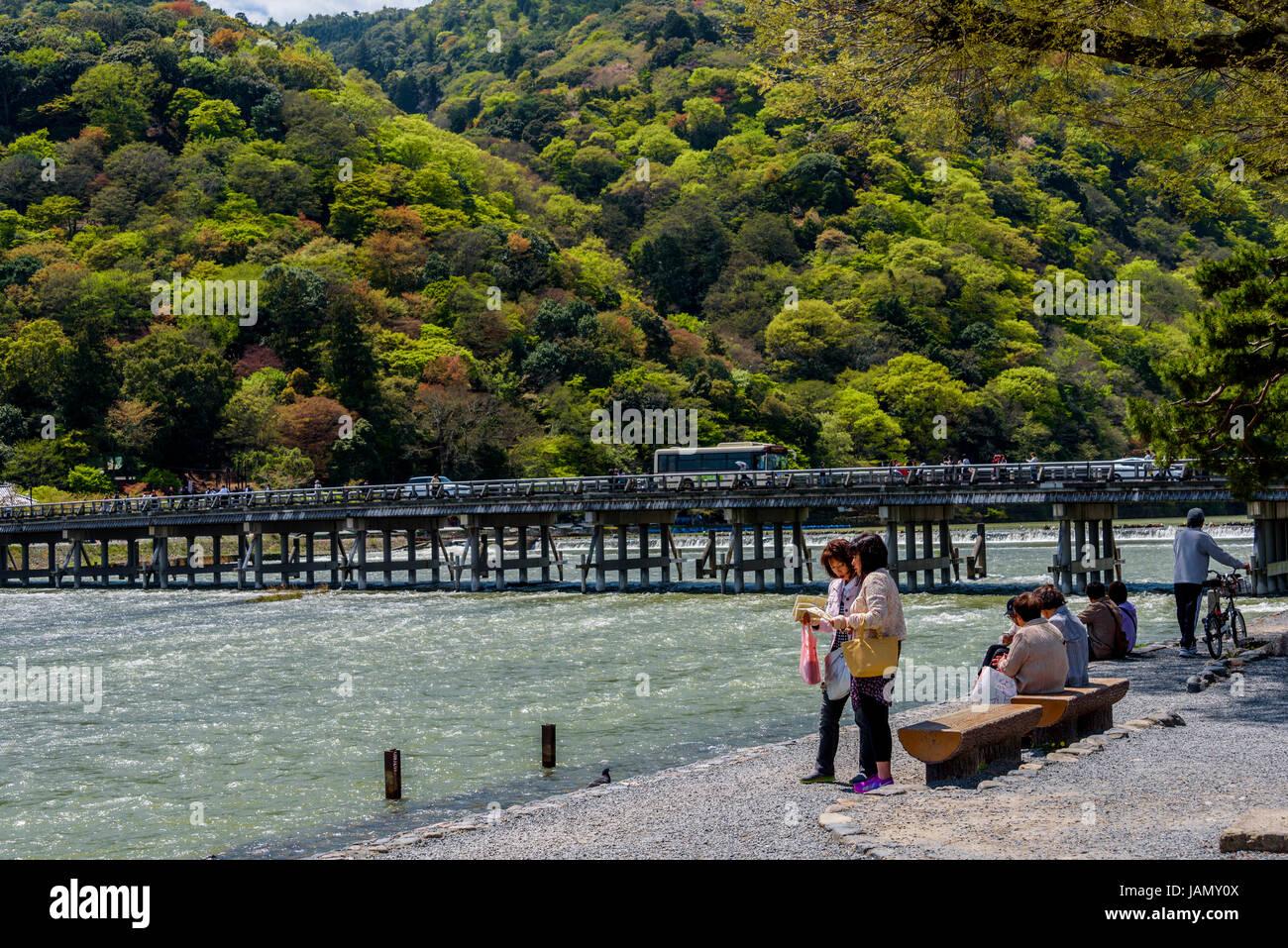 Togetsukyo Bridge landmark crossing the Katsura river. Arashiyama. - Stock Image