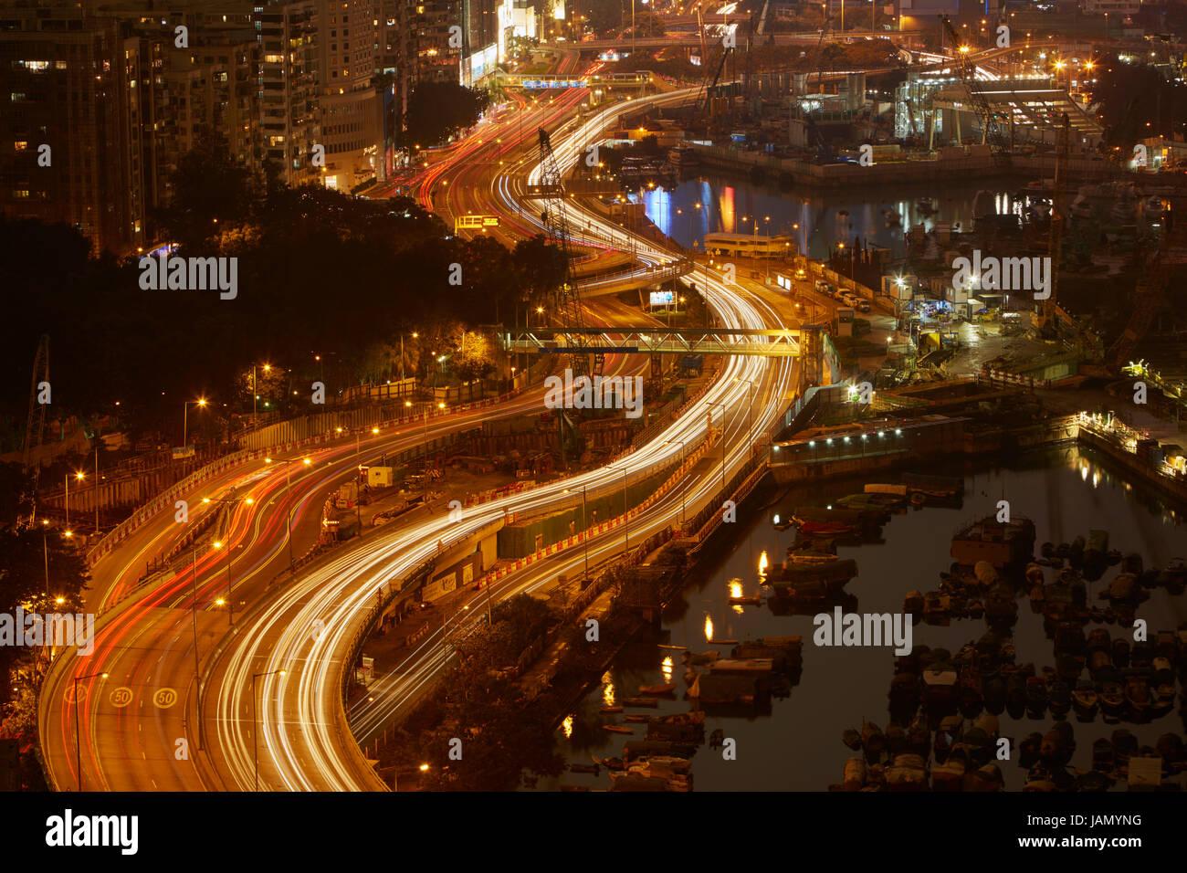 Island Eastern Corridor Motorway through Causeway Bay and  Wan Chai, Hong Kong, China - Stock Image