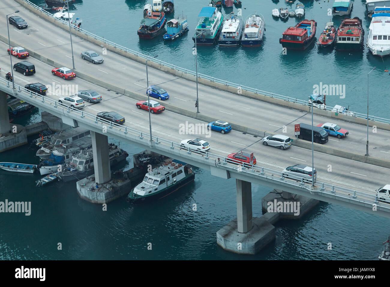 Island Eastern Corridor Motorway by Causeway Bay Typhoon Shelter, Causeway Bay, Hong Kong, China Stock Photo