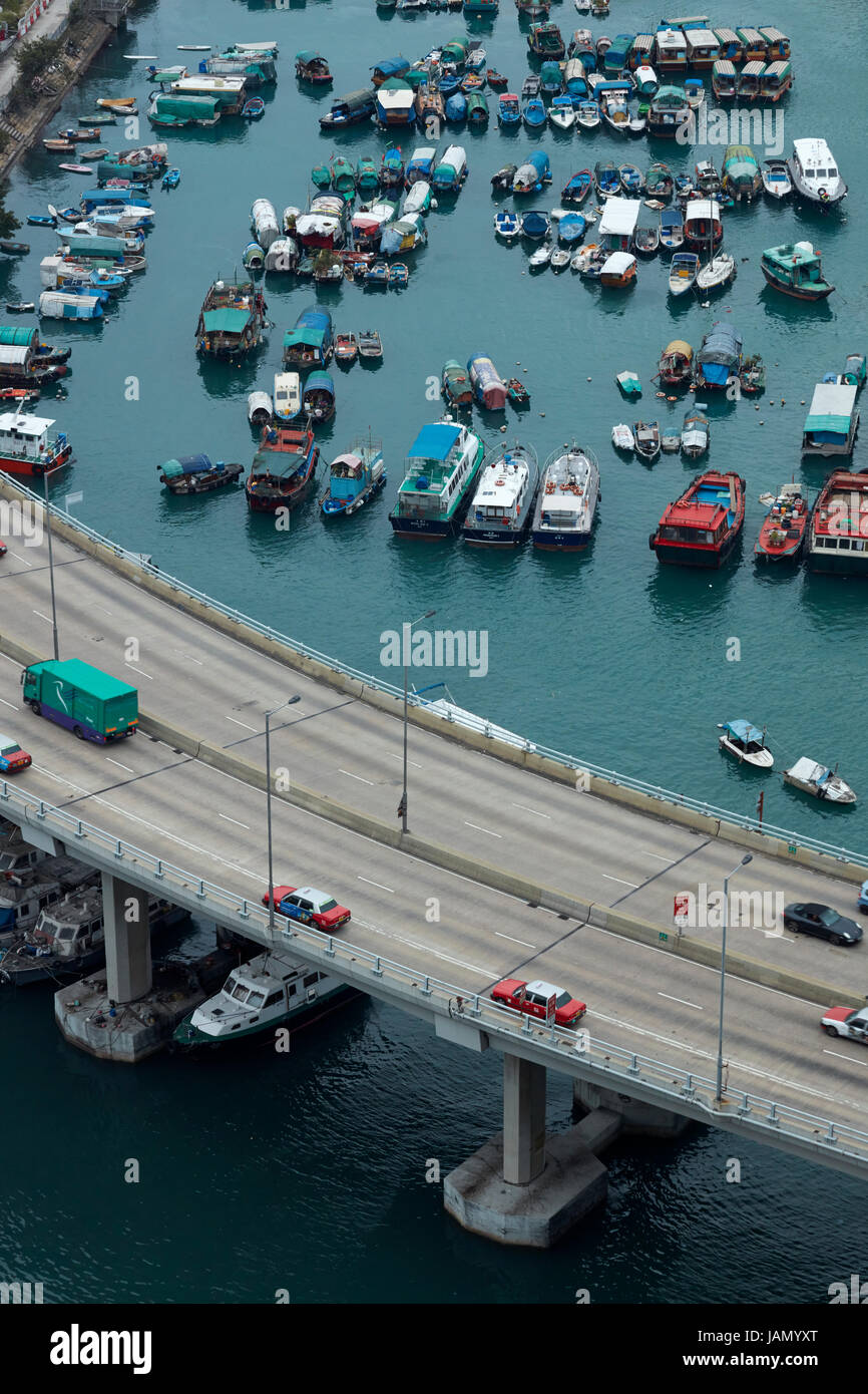Island Eastern Corridor Motorway by Causeway Bay Typhoon Shelter, Causeway Bay, Hong Kong, China Stock Photo