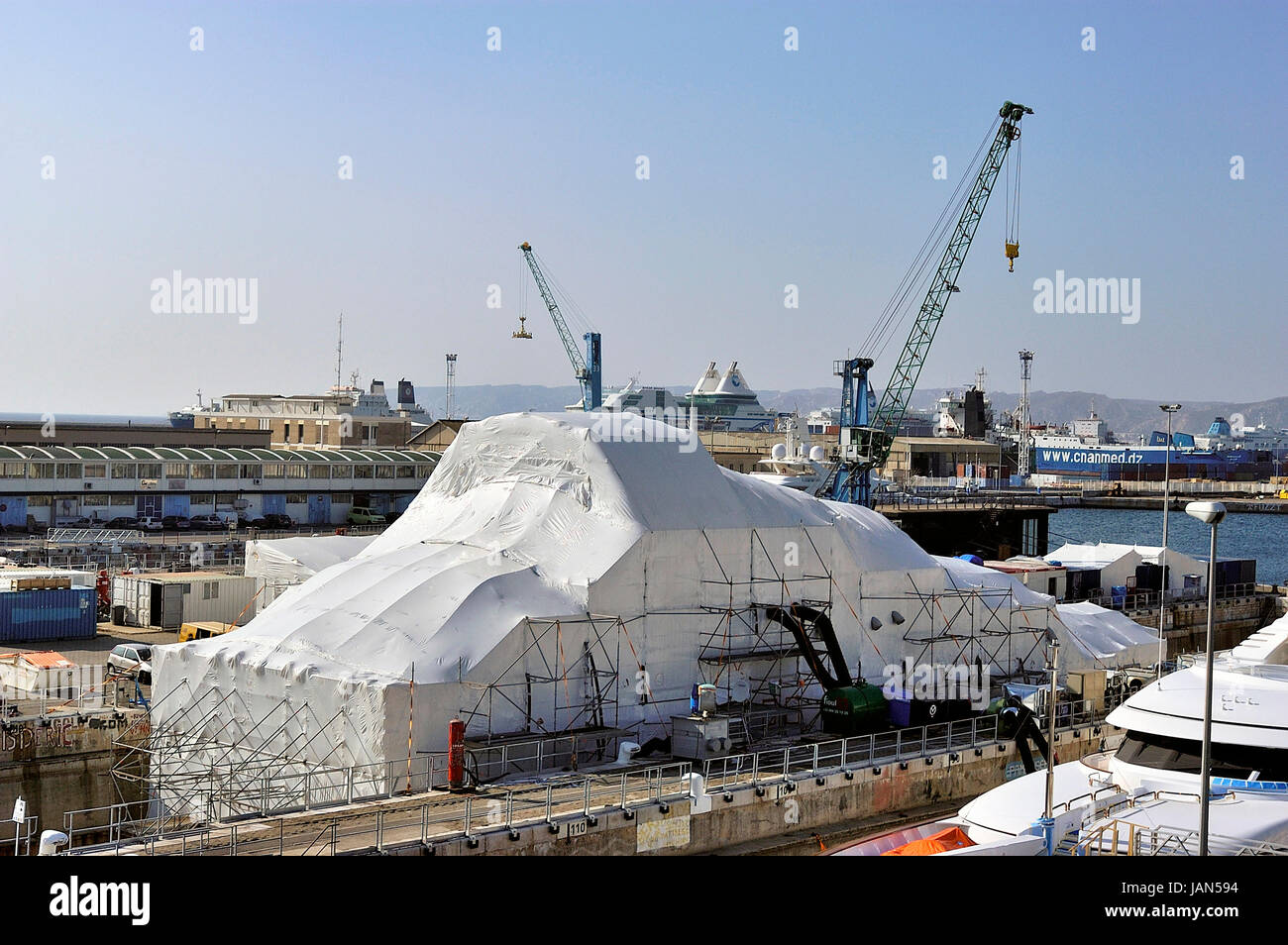 FOS-SUR-MER - FRANCE – MARCH 7, 2011: Shipyard specialized in repair and maintains it the large yachts of luxury. Stock Photo