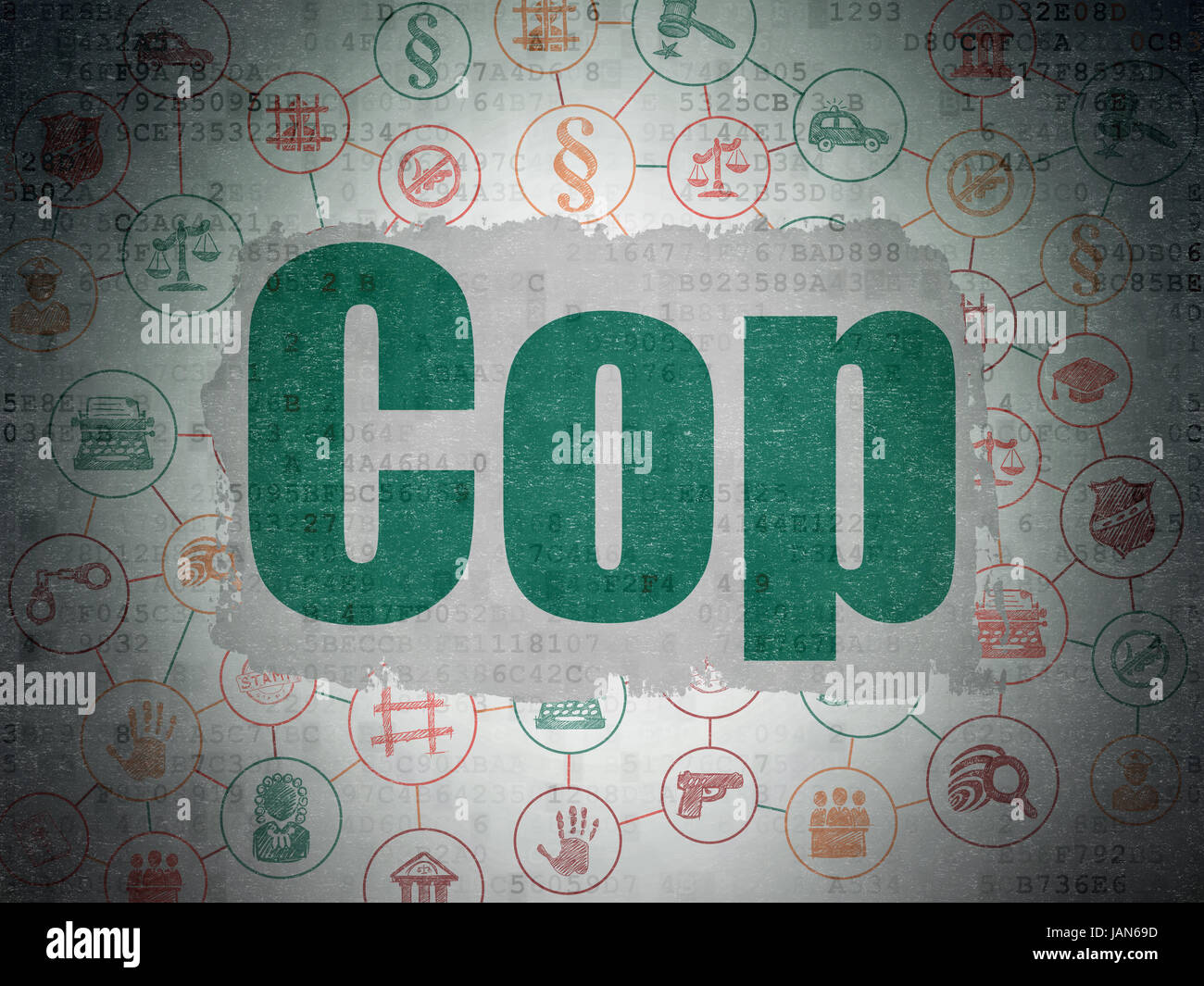 Law Concept Painted Green Text Cop On Digital Data Paper Background
