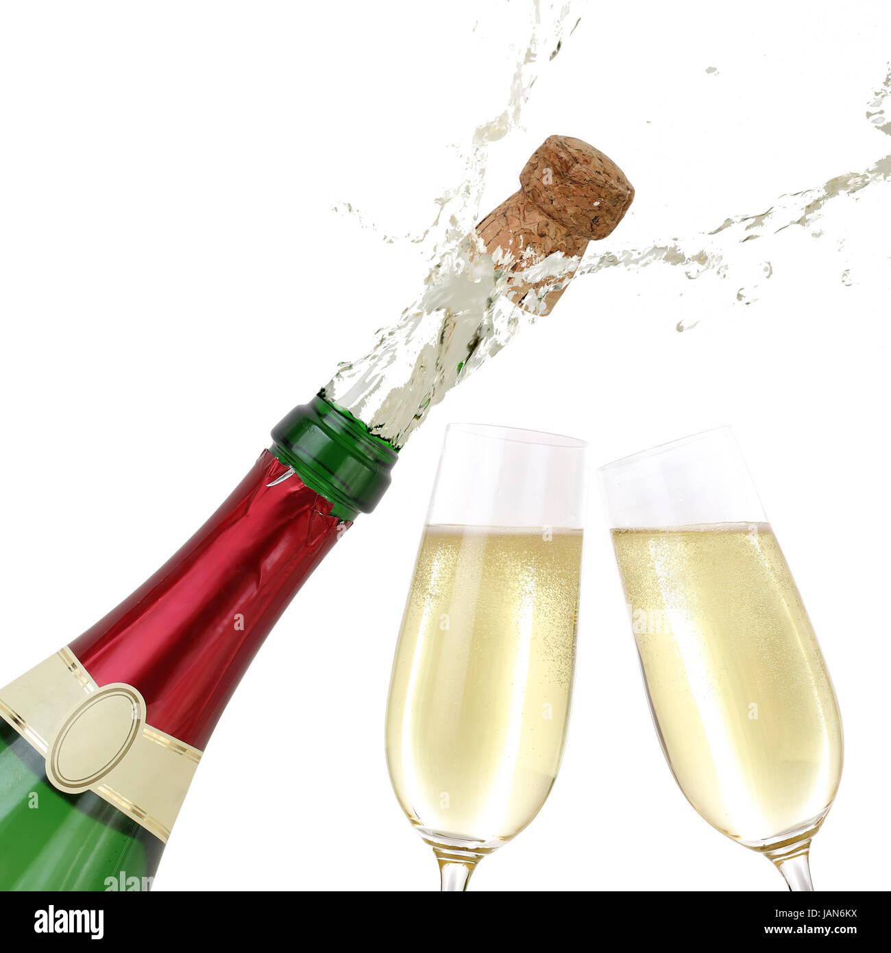 champagner spritzt aus flasche ansto en aufs neue jahr. Black Bedroom Furniture Sets. Home Design Ideas