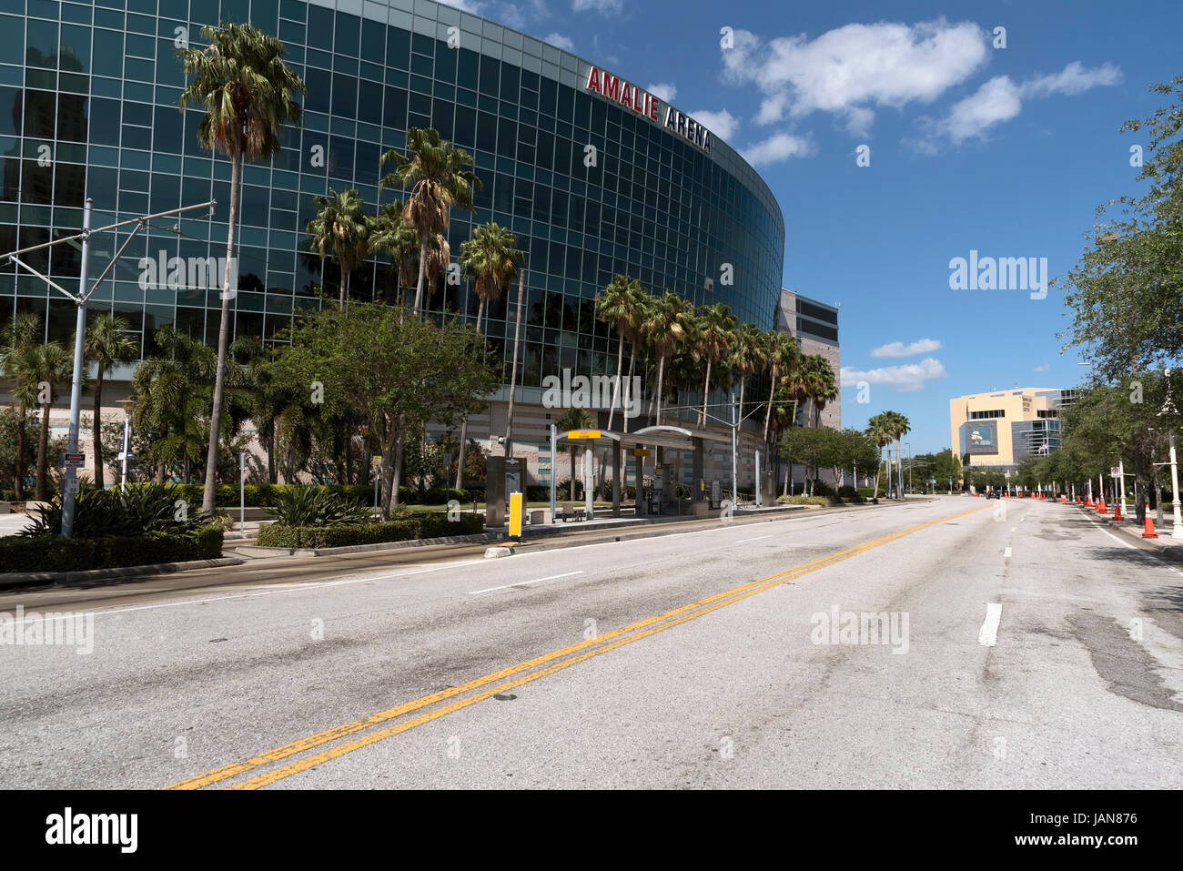 The Amalie Arena on Old Water Street downtown Tampa Florida USA. April 2017. The HSBA streetcar stop and in the - Stock Image