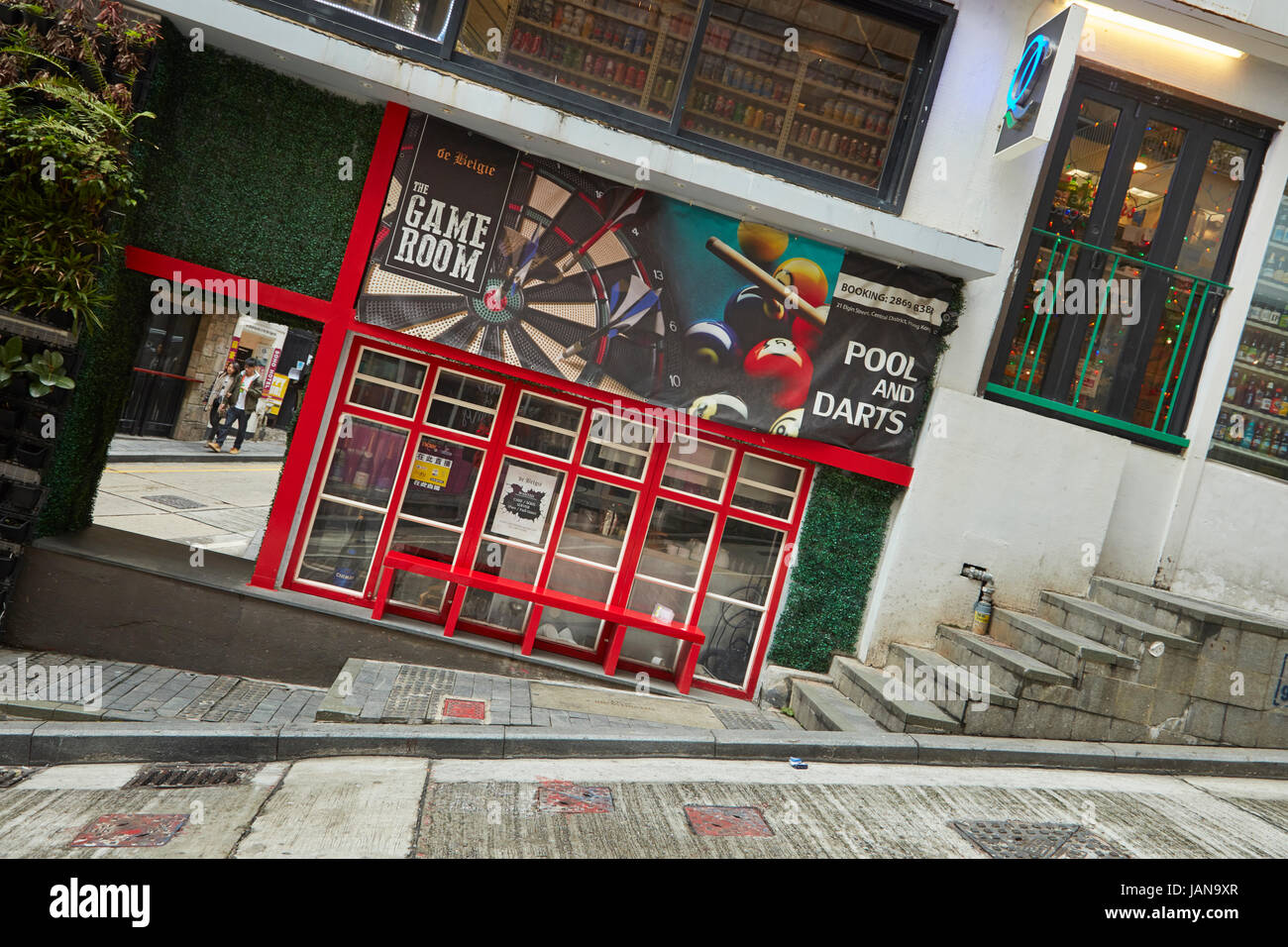Very steep Peel Street, Central, Hong Kong Island, Hong Kong, China - Stock Image