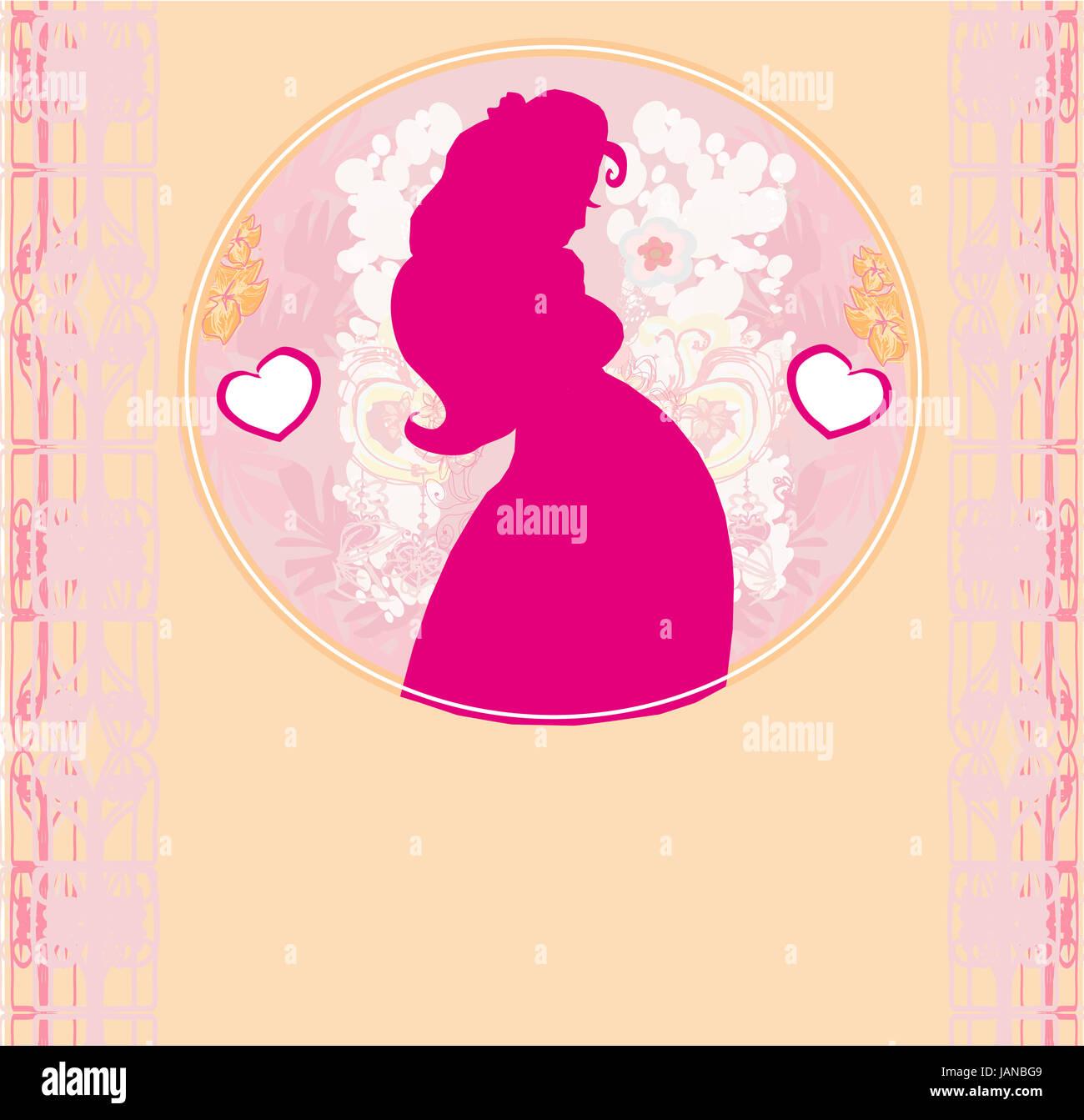 Baby shower cartoon invitation silhouette of pregnant woman stock baby shower cartoon invitation silhouette of pregnant woman filmwisefo