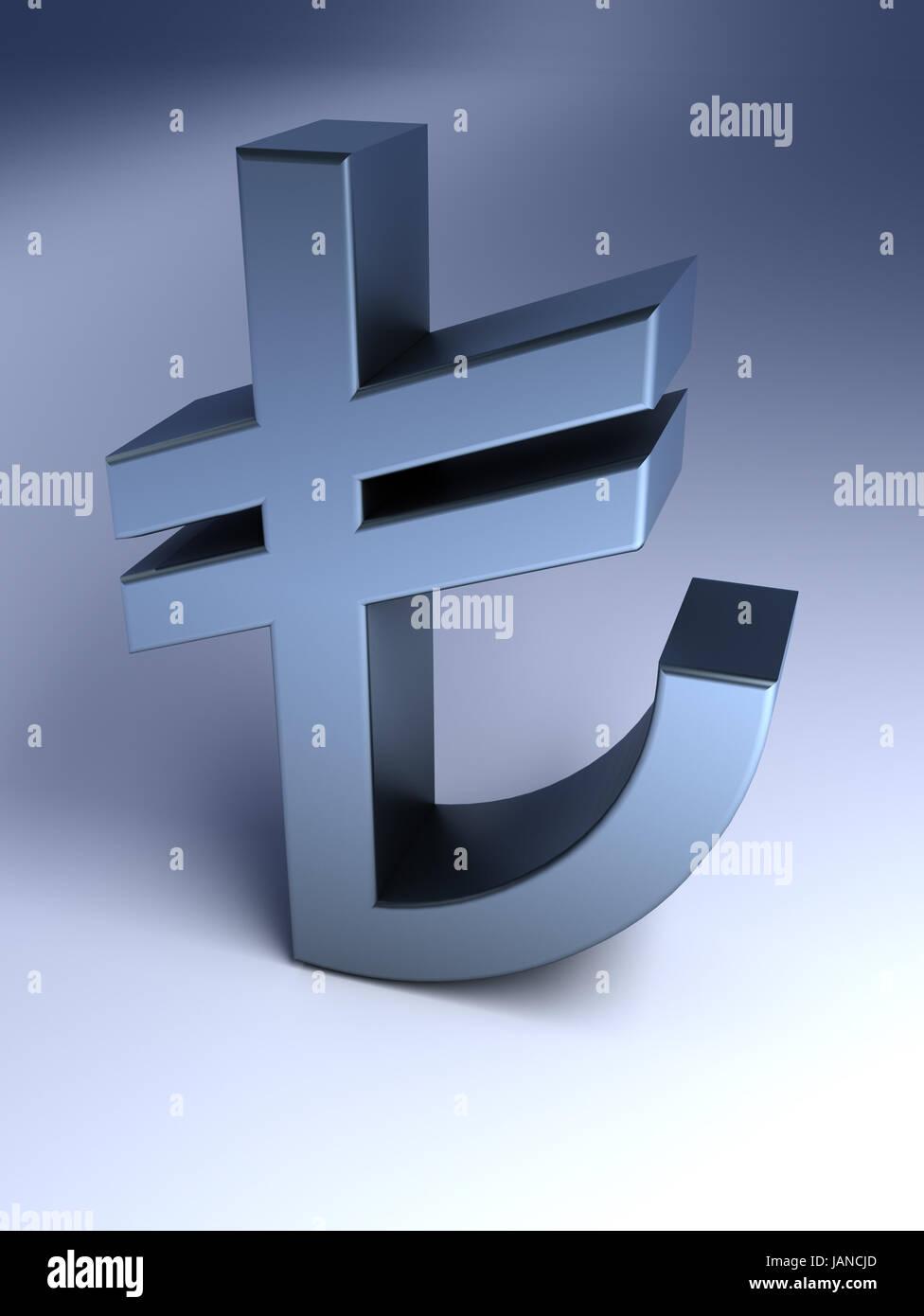 Turkish Lira Sign Stock Photo