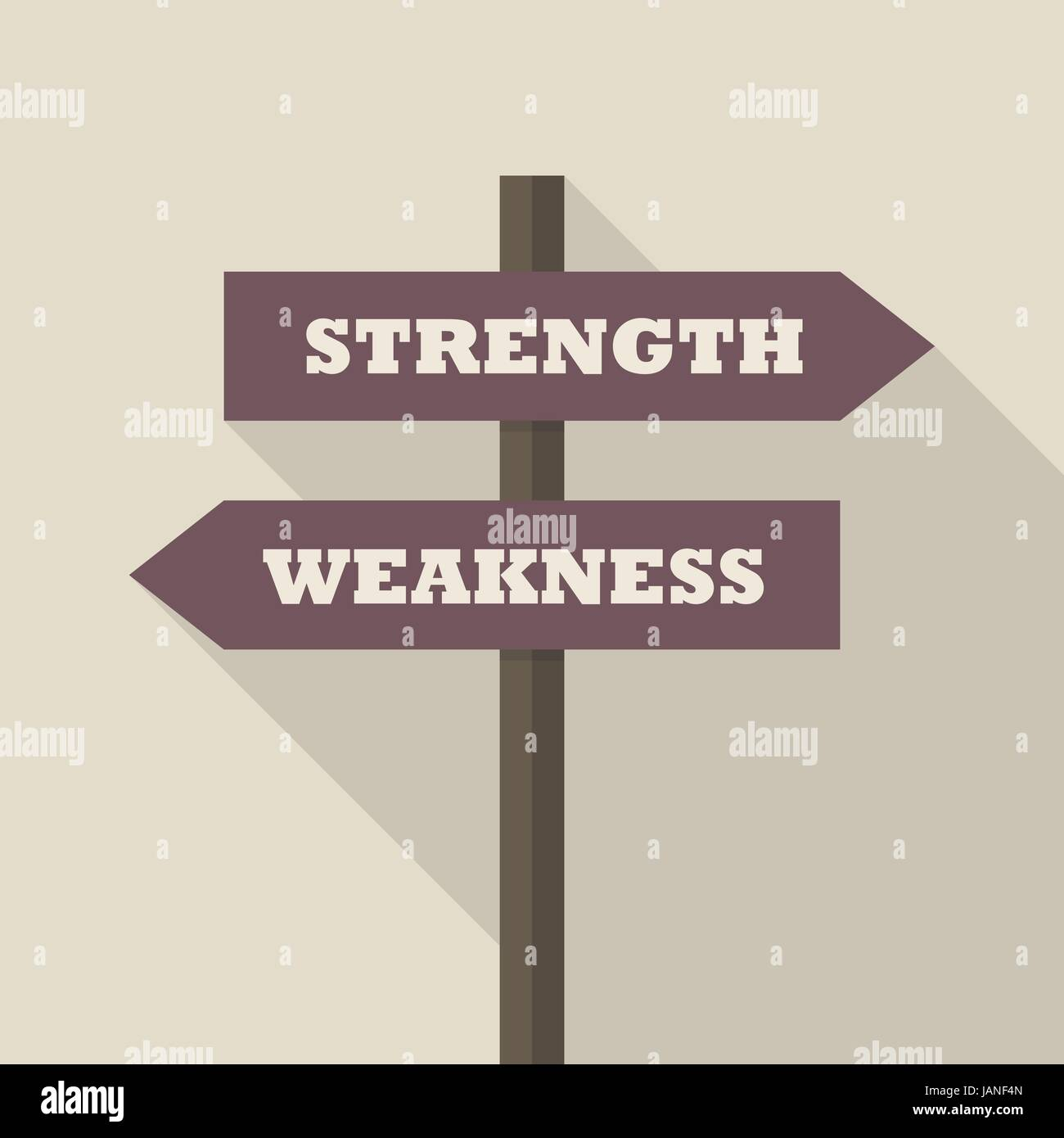 Strength or Weakness directions on a signpost. vector illustration - Stock Vector