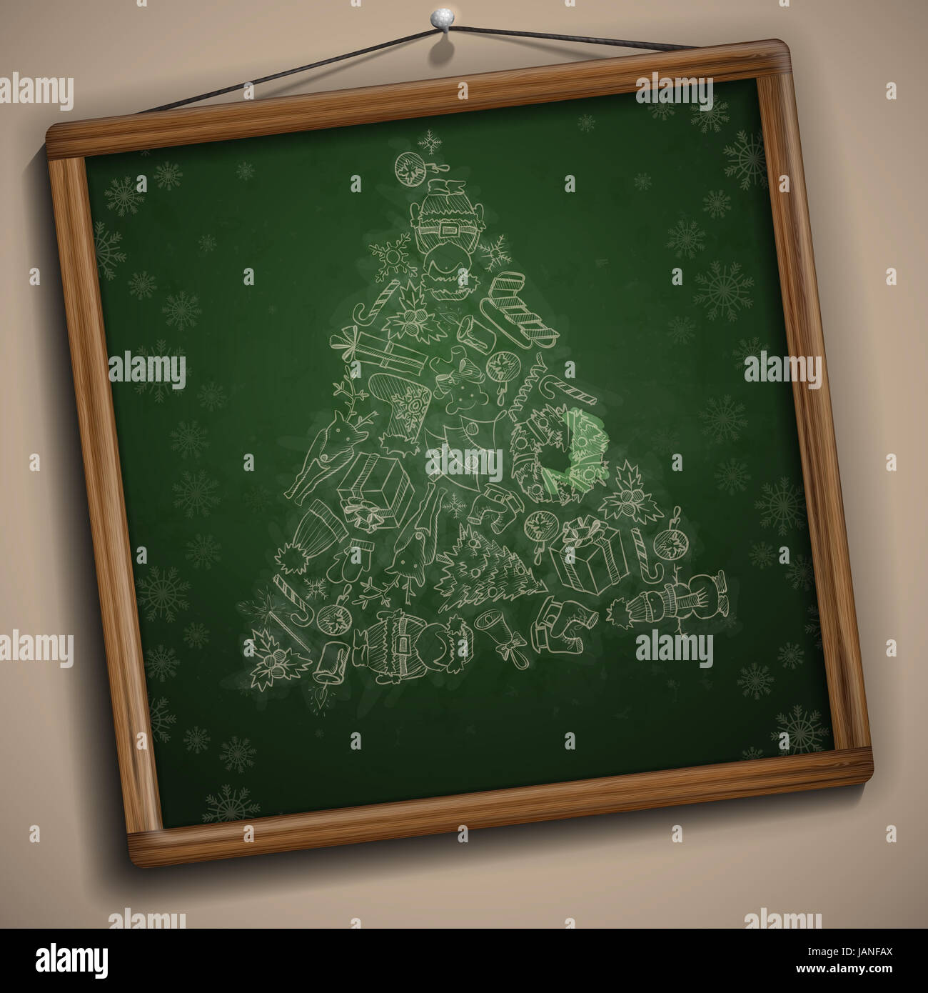 Hand Drawn Christmas Set. Christmas And New Year Symbols. Vector Illustration. Eps 10 Stock Photo