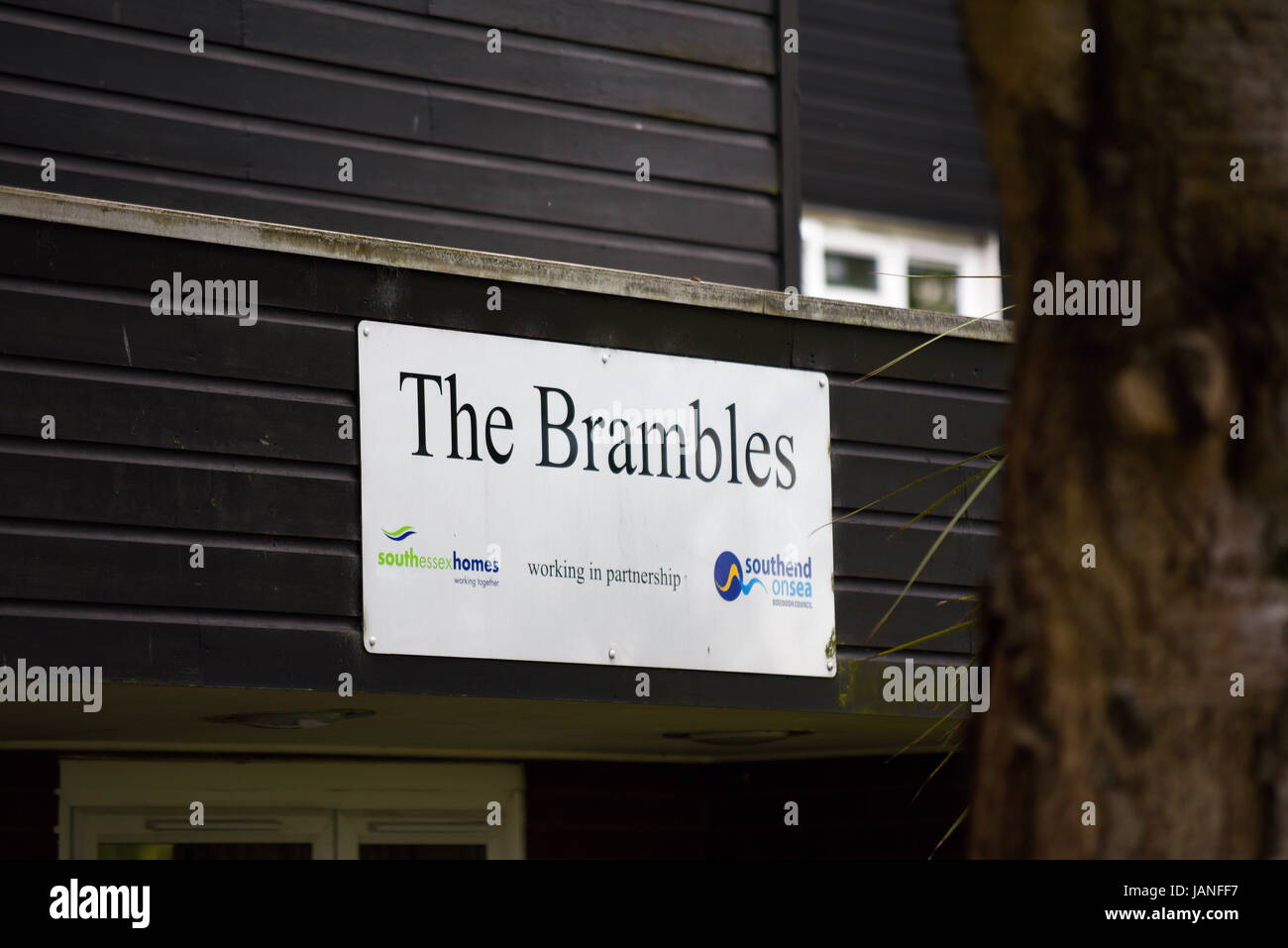 The Brambles South Essex Homes working with Southend Borough Council. Sign, with space for copy - Stock Image