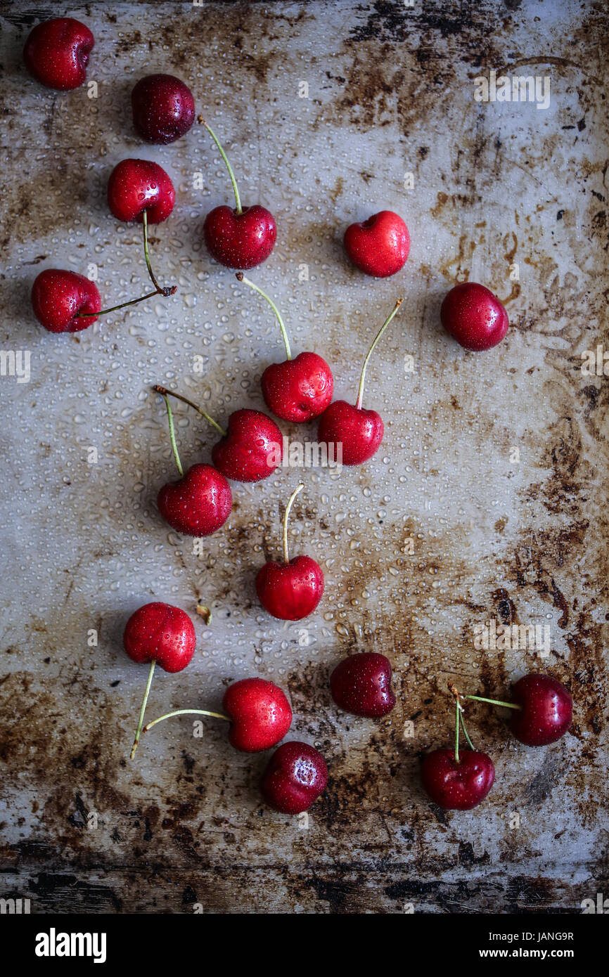 Cherries on a grey background - Stock Image