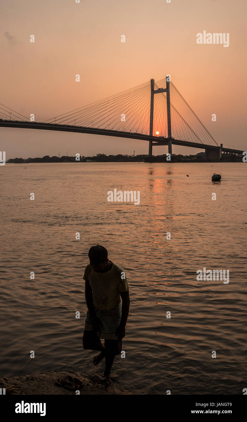 The Bridge and the man. - Stock Image