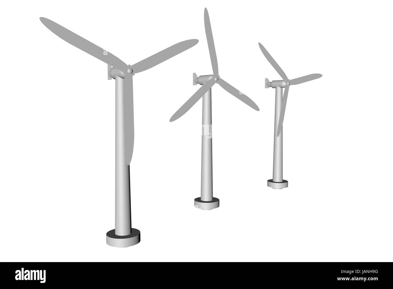 3D render of wind turbines isolated over white Stock Photo
